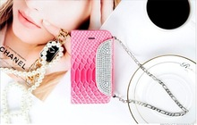 Snake PU pattern handmade diamond wallet cover cell phone case for iphone 5 5S