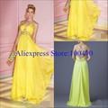 Vestidos de la fiesta amarelo longa chiffon formal vestido com beading vestidos de baile x- cinta de volta