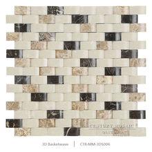 Chinese Mix Emperador Dark Emperador Light And Artifical Crema Marfil 3D Basketwave Marble Mosaic Tile For Bathroom Wall