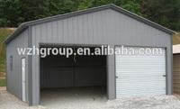 Metal frame steel carport with manual / motor driven roller shutter