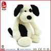Wholesale China manufacturer stock plush animal toy black & cream puppy soft dog