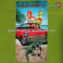Factory supply wholesale 100% microfiber car wash silk screen print beach towel