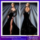Designers Hot Sale Sheath Heavily Beaded Top Keyhole Back High Slit Black Long Sleeve Winter Velvet Dress (ZX1039)