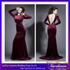 Hot Sale Famous Designers Mermaid Long Sleeve Low Cut Back Wine Red Velvet Sexy Dress (ZX1040)
