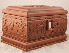 SHI ER SHENG XIAO Wood Cremation Casket