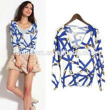 Street popular style baroque printed design deep V collar girl blouses
