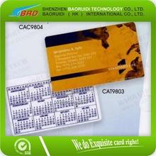 Kredi kartı boyutunda/cep boyutu takvim kartı