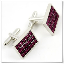 square stainless steel cufflink for men wholesale cufflink red crystal