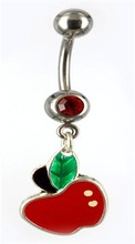 Fancy! red apple dangling with red gem navel belly rings
