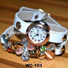 Fashion rhinestone rivets leather watch leather bracelet watch