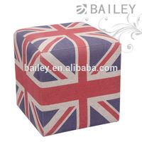 cube fabric England flag ottoman