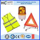 reflective vest, warning sign, kevlar glove car emergency kit