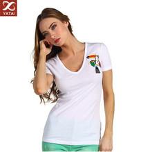 custom design women vneck tshirt white
