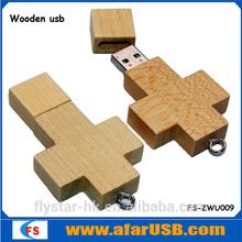 Hotsale OEM Promotional Wooden Cross USB Flash Drive 128MB-64GB