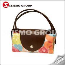 purple pp non woven handle bag nylon folded shopping bag