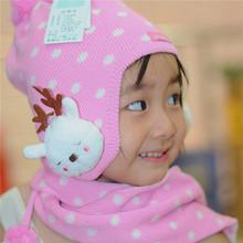 Children's hat knitting hat scarf set of cap Girls earmuffs Fluorescent cap