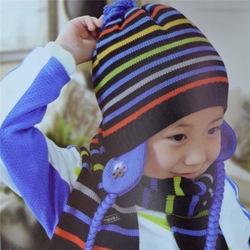 Children warm knitting hat scarf Ear protection cap multicolor thick