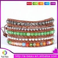 XQ133 2014 Handmade braided jade beaded bracelets ladies