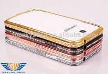 Luxury Rhinestone Diamond Bling Crystal Metal Aluminium Phone Bumper Cover For Samsung Gaxaly Note 2 N7100