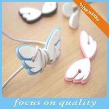 fashion wings shape plastic earphone cord winder
