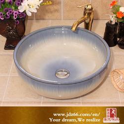 Gradual Change Sky Blue Color Gloss glaze Ceramic Kitchen Sink