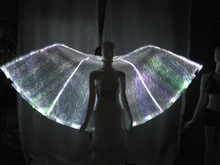 2014 fashion stage performance led luminous belly dance isis wing with fiber optical fabric