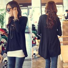 Korean Cotton Tops Batwing T-shirt Women Clothes Long Sleeve Irregular Fashion