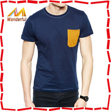 High quality contrast color chest patch international basic source t shirt for men