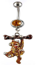 316L stainless steel monkey with gem belly Ring