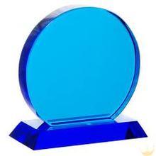 2014 budget design blue glass trophy