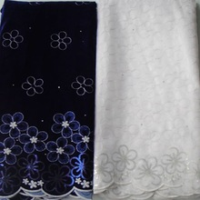 Top selling African velvet lace fabric 10y per set high quality handcut velvet african lace fabric