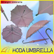 Boutique Auto Open Pink Polyester Straight Umbrella with Lotus Leaf Edge Beautiful Girl Rain Umbrella Fresh Rain Gear