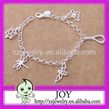 Multi Different Animal Pendants Silver Bracelet_925 Sterling Silver Plated Chain Bracelet