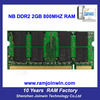 Memory warranty ETT chips ddr 2 2gb 800 mhz ram for laptop