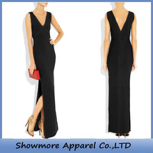 Style Number FL004 Black Straight V-neck Side Slit Bandage Party Maxi Dress
