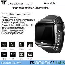 Bluetooth smart watch phone, 2014 Top Health management smartwatch, ECG, heart rate, GPS, SIM card, Timestar W6