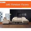 modern stainless steel white genuine leather sofa ,folding sofa