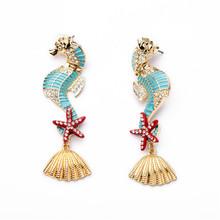 Latest Fashion Hot Sale New Design Trangle Dangle 2014 Sea Horse Earrings For Women E10430