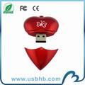 Rot herzform kunststoff individuelles logo usb-stick