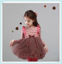 2014phelfish original single children dress 13913 Quality Kids Girls striped gauze dress stitching