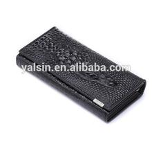 wpg4032b custom black crocodile genuine leather woman wallet purse, black lady purse