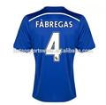 La calidad de tailandia fútbol Fabregas jersey 2014 nuevo estilo azul uniforme del fútbol de Chelsea