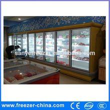 upright display freezer for supermarket CE commercial display refrigerator curved glass top freezer island freezer