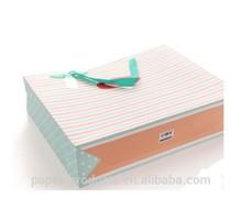 dongguan horizontal stripes satin ribbon handles paper gift bags