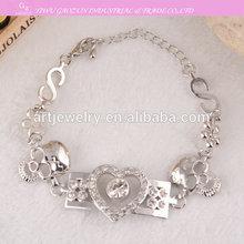 Fashion beautiful European Sliver plated skull with zircon charm bracelet