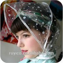 2014 new design transparent plastic rain bonnet for woman using