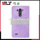 Mobile phone full diamond leather bling case for lg g3