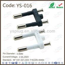 2 pin europeo ( 2 Pole AC 250 V conector, 4.0 M 2 pin enchufe de ca )