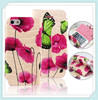New Arrival Flower Butterfly Design PU Leather Phone Cases for Iphone 5 G, 5C