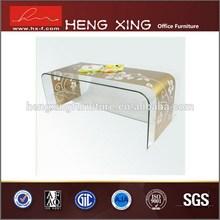 Good price adjustale height solid wood brass coffee table